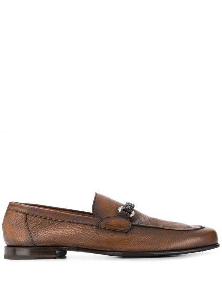 Коричневые кожаные лоферы на каблуке Barrett