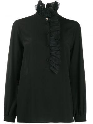 Прямая блузка с длинным рукавом с оборками с воротником на пуговицах Gucci