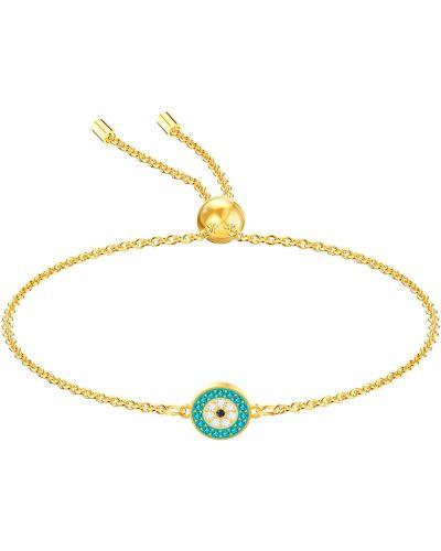 Золотой браслет с подвесками металлический Swarovski