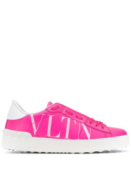 Skórzane sneakersy z logo zasznurować Valentino