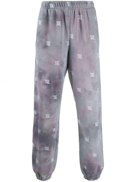 Różowe spodnie bawełniane z haftem Misbhv