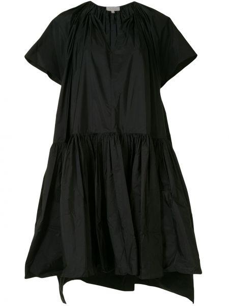 Черное платье с V-образным вырезом с короткими рукавами Delpozo