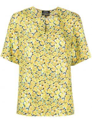 Желтая блузка с короткими рукавами с вырезом A.p.c.