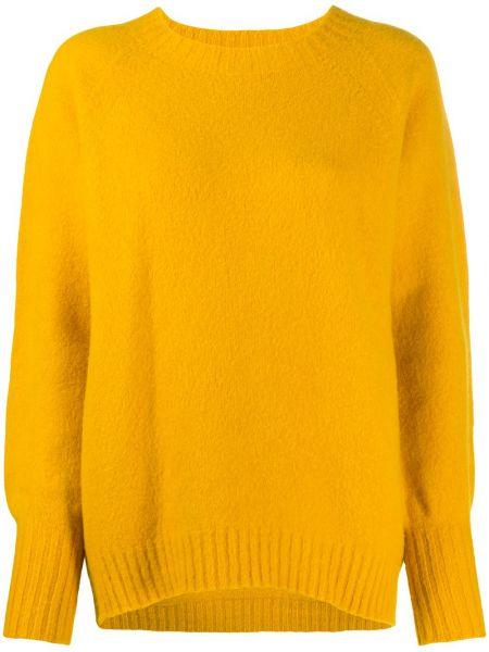 Шерстяной вязаный желтый свитер в рубчик Drumohr