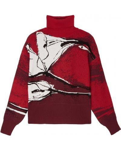Красный шерстяной длинный свитер с воротником Adolfo Dominguez