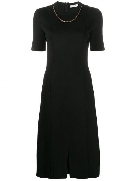 Czarny sukienka mini z wiskozy krótkie rękawy okrągły dekolt Givenchy