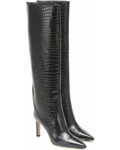 Skórzany czarny buty obcasy w połowie kolana wytłoczony Jimmy Choo