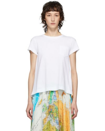 Рубашка с коротким рукавом белая без воротника Sacai