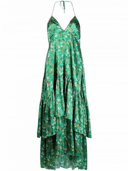 Шелковое зеленое платье миди в цветочный принт Lautre Chose