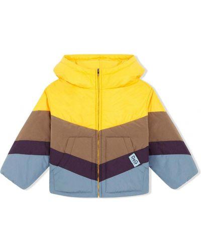 Żółty płaszcz z kapturem Dolce & Gabbana Kids
