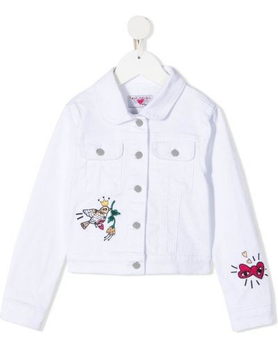 Ватная белая джинсовая куртка с вышивкой Sonia Rykiel Enfant