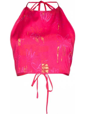 T-shirt z nadrukiem z printem - różowa Collina Strada