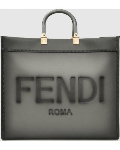 Кожаная сумка шоппер - серая Fendi