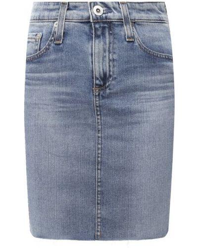 Хлопковая синяя джинсовая юбка Ag