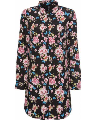 Джинсовое платье с цветочным принтом на пуговицах Bonprix