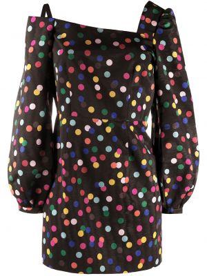 Czarna sukienka mini w grochy z długimi rękawami Racil