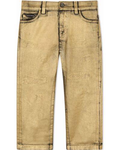 Niebieskie mom jeans z paskiem Dolce & Gabbana Kids