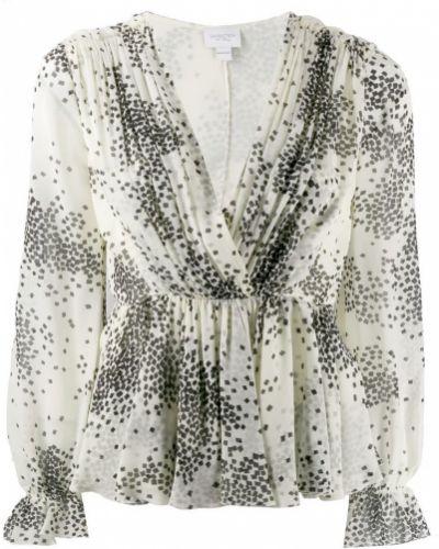 Блузка с длинным рукавом в полоску с V-образным вырезом Giambattista Valli