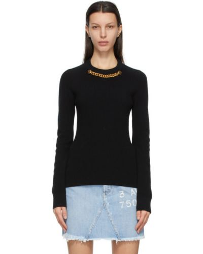 Czarny z kaszmiru długi sweter z długimi rękawami Givenchy