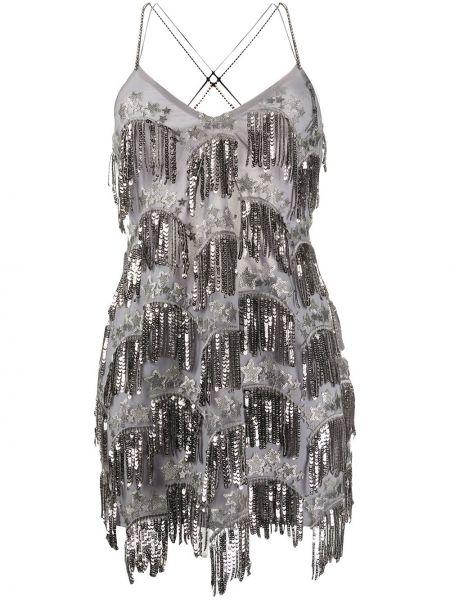 Платье мини серое с вышивкой For Love & Lemons