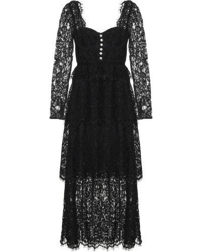 Гипюровое кружевное черное платье миди Self-portrait