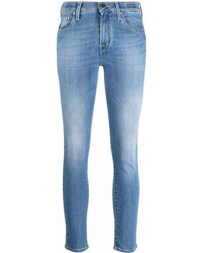 Хлопковые синие укороченные джинсы на пуговицах Jacob Cohen