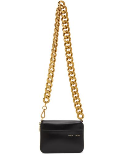 Skórzany czarny torebka na łańcuszku z kieszeniami przeoczenie Kara