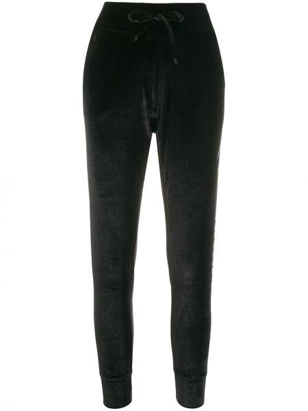 Прямые черные спортивные брюки с поясом Plein Sport