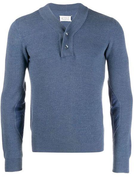 Синий пуловер в рубчик на пуговицах Maison Martin Margiela Pre-owned
