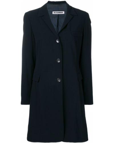 Коралловое длинное пальто узкого кроя на пуговицах с капюшоном Jil Sander Pre-owned