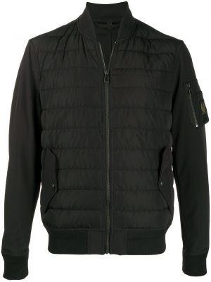 Czarny puchaty z rękawami długa kurtka z kieszeniami Belstaff