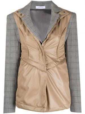 Серый удлиненный пиджак в клетку с лацканами Delada