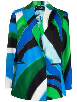 Синий удлиненный пиджак с карманами с воротником Gianluca Capannolo