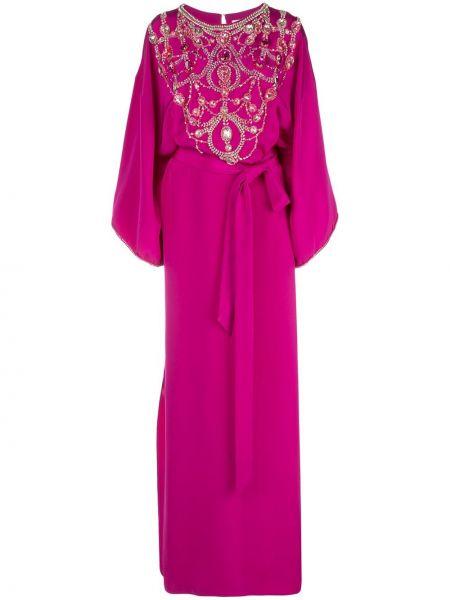 С рукавами фиолетовое шелковое платье мини с вырезом Marchesa