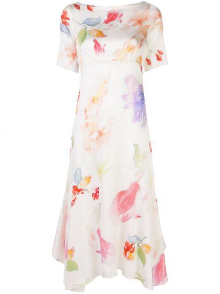 Платье мини с цветочным принтом с рукавами Peter Pilotto