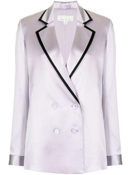 Фиолетовый шелковый удлиненный пиджак двубортный Fleur Du Mal