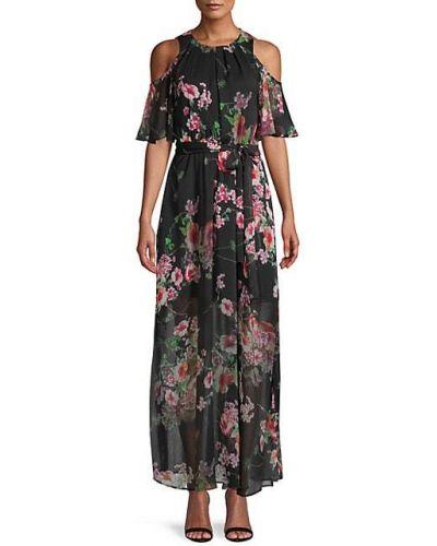 Шифоновое черное платье макси с поясом Calvin Klein