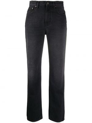 Czarny bawełna skórzany jeansy na wysokości z kieszeniami Acne Studios