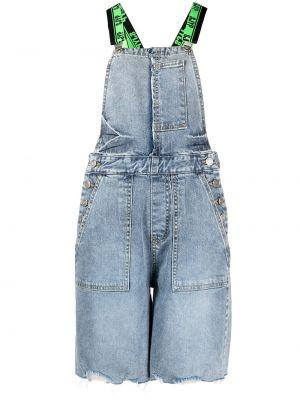 Хлопковый синий джинсовый комбинезон на бретелях Sjyp