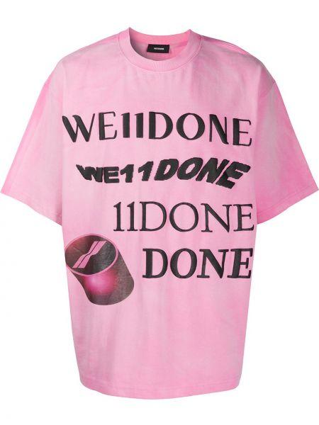 Свободная розовая рубашка с короткими рукавами с тиснением круглая We11done