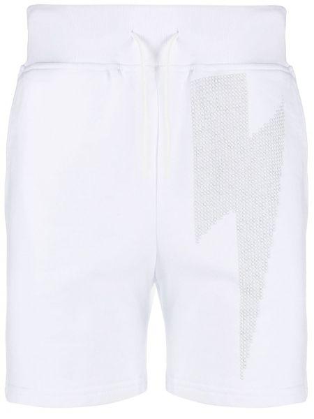 Białe krótkie szorty bawełniane z printem Hydrogen