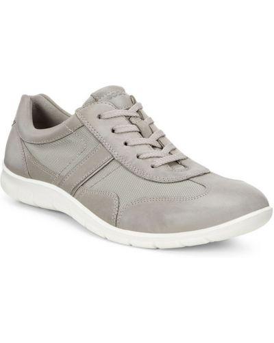 Кожаные кроссовки бежевые текстильные Ecco