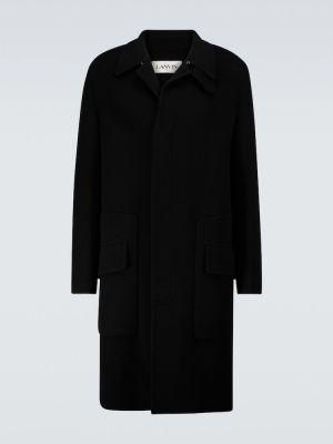 Czarny z kaszmiru płaszcz Lanvin
