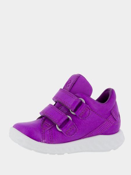 Фиолетовые кожаные полуботинки на липучках Ecco