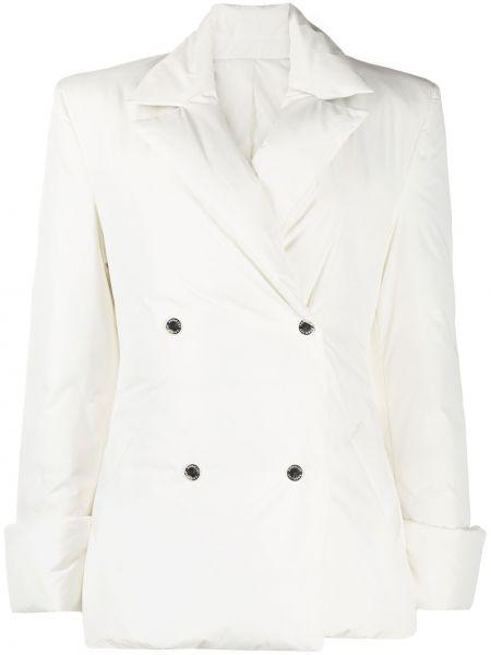 Белая стеганая куртка на пуговицах двубортная с перьями Khrisjoy