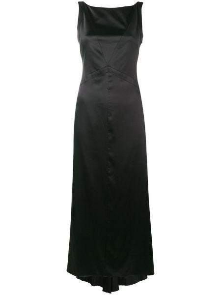Шелковое черное платье с вырезом Karl Lagerfeld