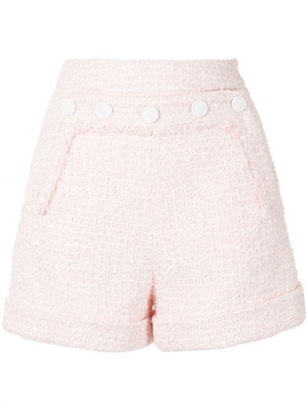 Розовые шорты твидовые с отворотом Paule Ka