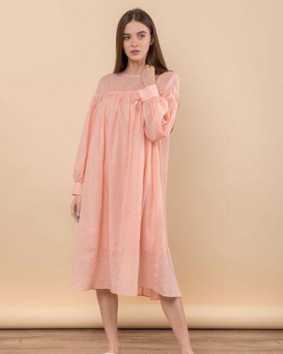 Персиковое платье свободного кроя Mr520