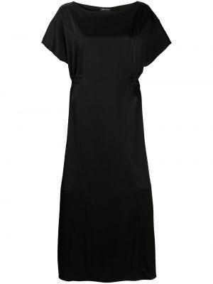 Черное прямое платье миди с вырезом с короткими рукавами Andrea Ya'aqov