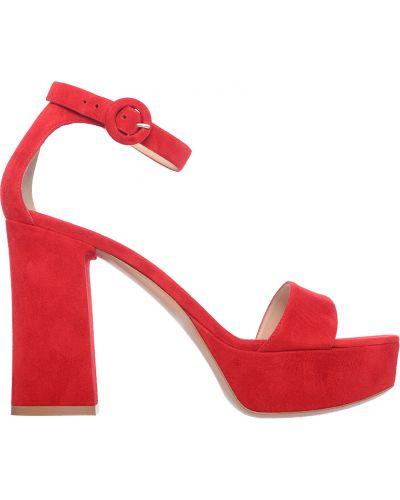 Кожаные босоножки - красные Gianvito Rossi